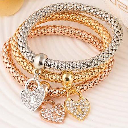 Trojdielna sada náramkov (zlatý, strieborný, bronzový) - srdce