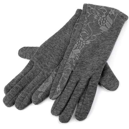 Dámske rukavice s krajkou - farba šedá - veľkosť M