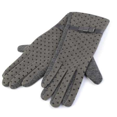 Dámske rukavice s bodkami - farba šedá - veľkosť M