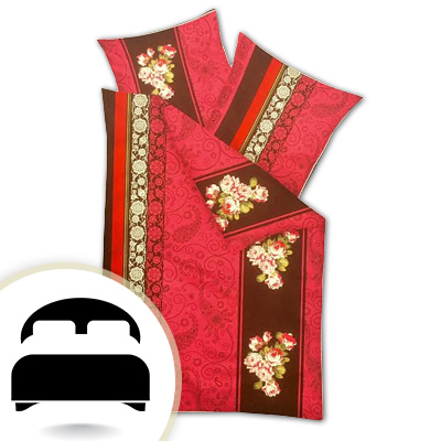 Obliečky pre dvojlôžko - model A červené ornamenty