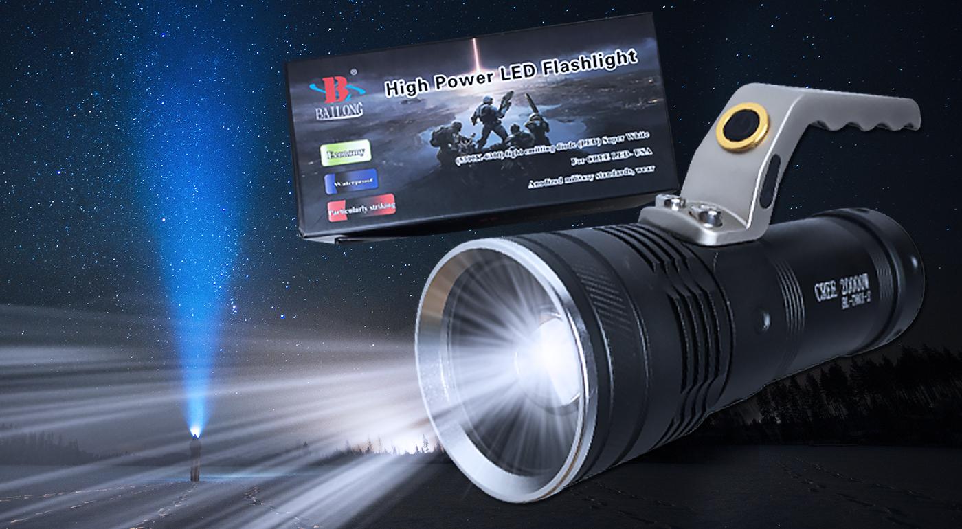 Dobíjacia LED baterka s rúčkou a funkciou ZOOM