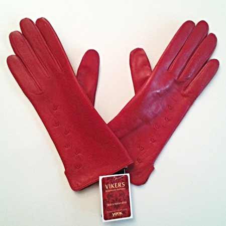 Dámske kožené rukavice - farba červená