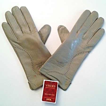 Dámske kožené rukavice - farba olivová