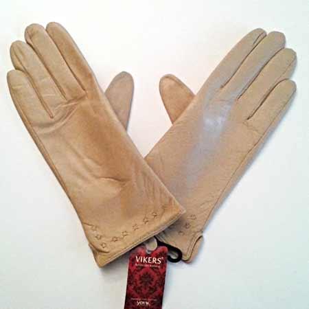 Dámske kožené rukavice - farba telová