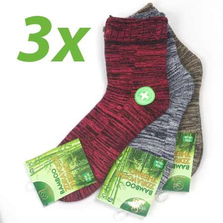 3 páry dámskych zdravotných termo ponožiek z bambusového vlákna (mix farieb) - veľkosť: 35 - 38