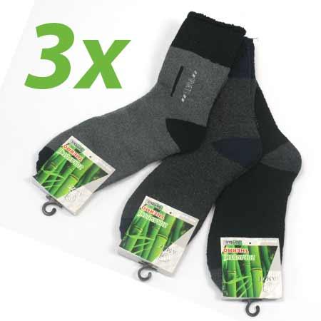 3 páry pánskych zdravotných termo ponožiek z bambusového vlákna (mix farieb) - veľkosť: 40 - 43