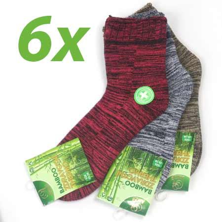6 párov dámskych zdravotných termo ponožiek z bambusového vlákna (mix farieb) - veľkosť: 35 - 38