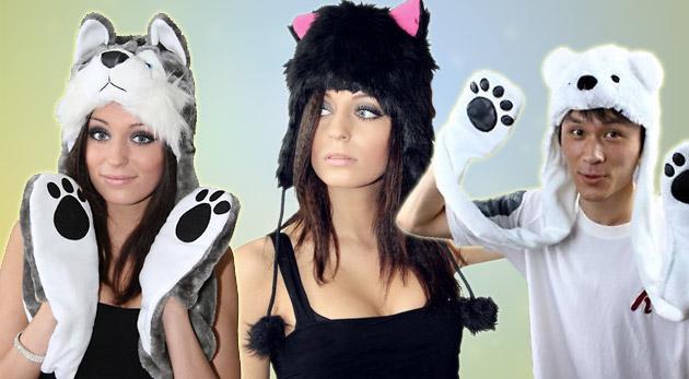 Originálne zimné zvieracie čiapky 3 v 1 - Štýlová Mačka, Ľadový medveď alebo Vlk.