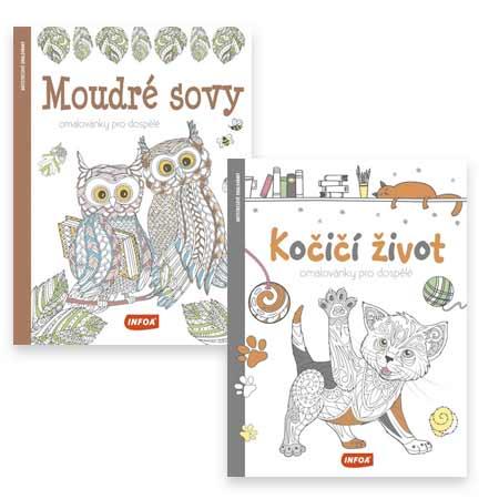 Dvojbalenie antistresových omaľovánok Moudré sovy a Kočičí život