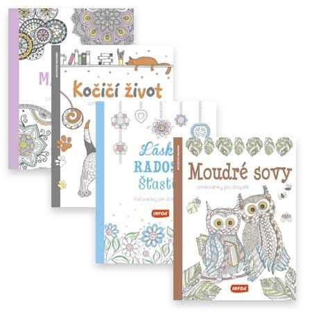 Štvorbalenie antistresových omaľovánok Moudré sovy, Kočičí život, Láska, radosť, šťastie a Kouzelné mandaly