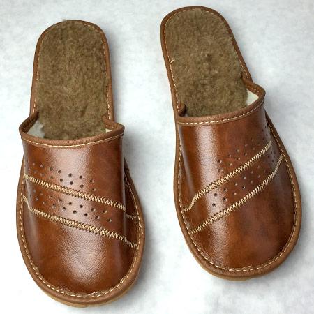 Pánske papuče s ovčou vlnou - vzor 5 - veľkosť 40