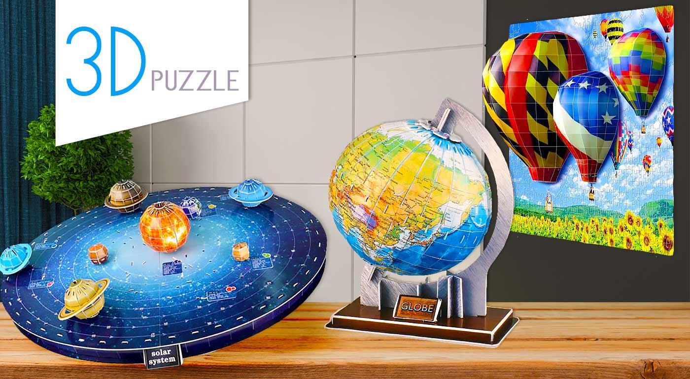 Výnimočné 3D puzzle - na výber motív glóbusu, slnečnej sústavy či balónov!