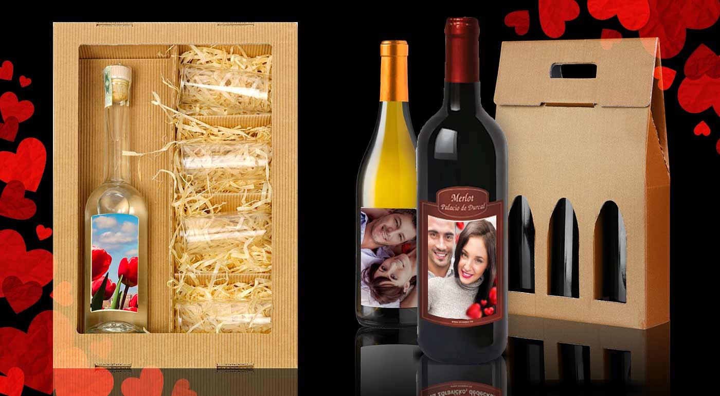 Víno alebo višňovica s vlastnou fotografiou - pripomeňte si Valentína originálnym spôsobom