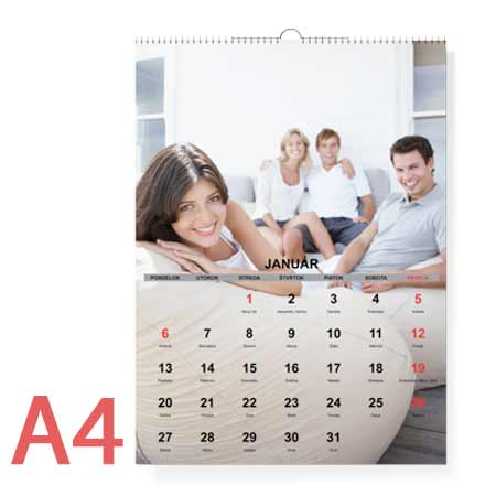 Nástenný fotokalendár mesačný, formát A4 (12 strán + 1 titulná) - orientácia na výšku