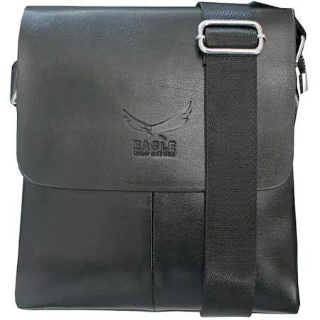 Pánska kožená taška Wild Nature Eagle od Kangaroo Kingdom - farba čierna