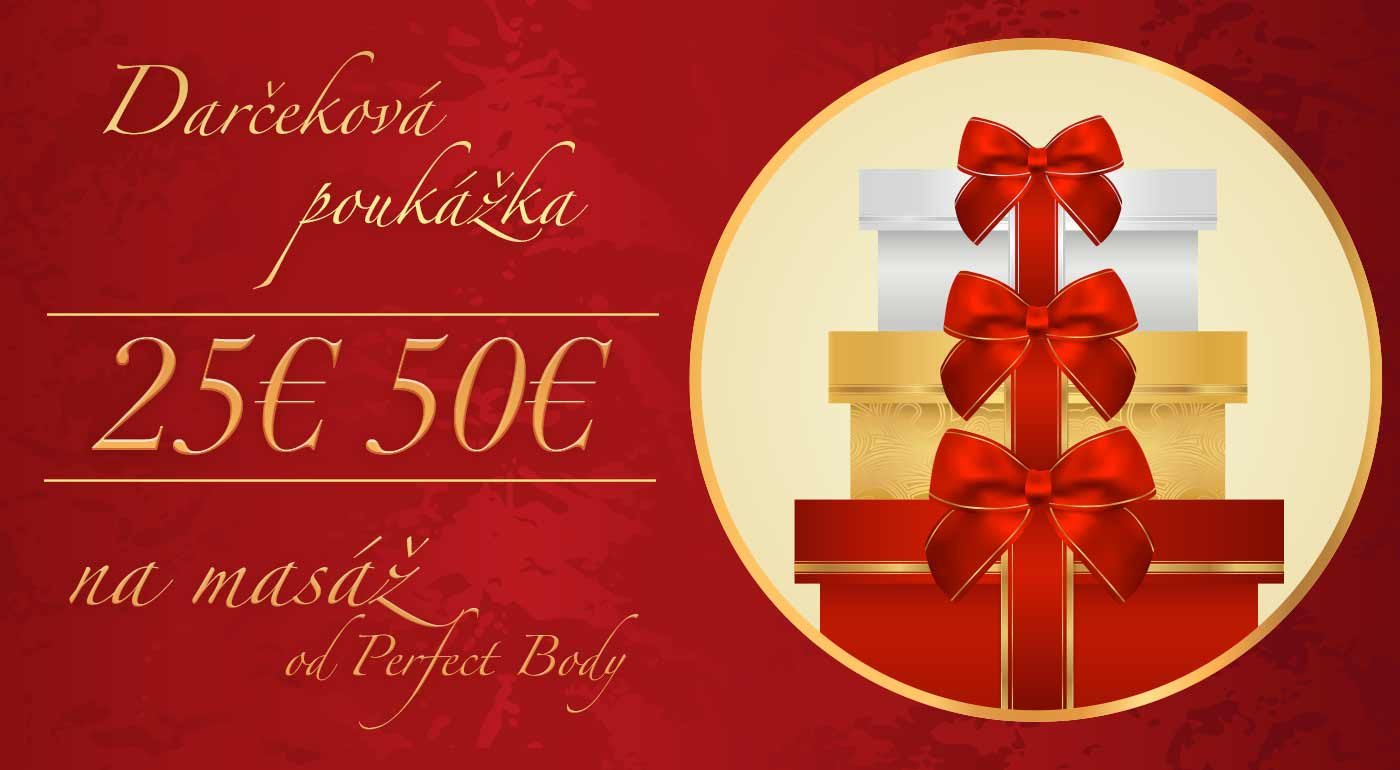 Poukážky na masáže v hodnote 25 € a 50 €