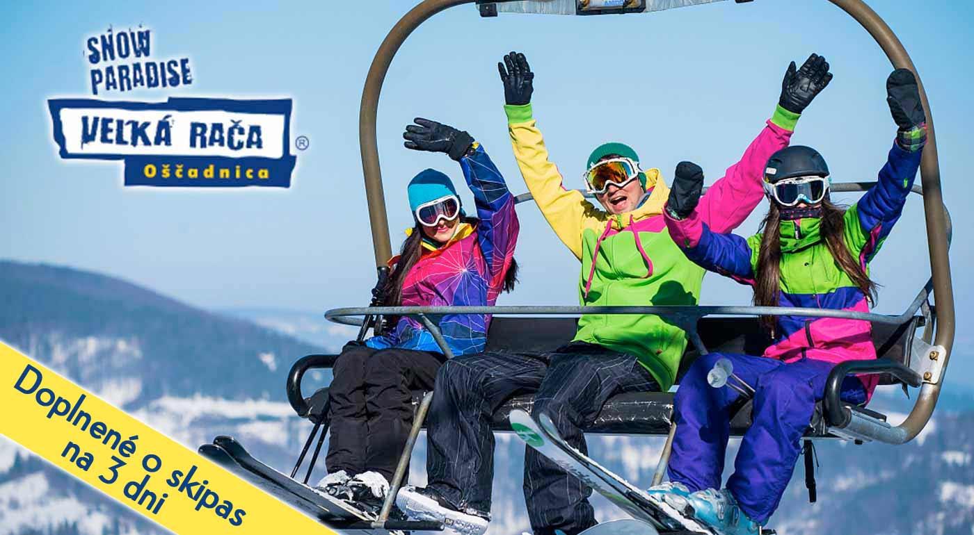Nezabudnuteľná zima v lyžiarskom stredisku Snowparadise Veľká Rača Oščadnica - VIP sezónky, denný alebo 3-dňový skipas či jazda ratrakom za super ceny