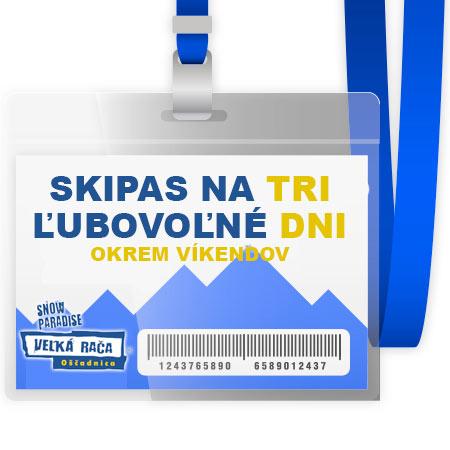 3-dňový neprenosný skipas pre 1 osobu  - možnosť využiť počas troch ľubovoľných pracovných dní (platí iba v termíne 10.1. - 2.2.2017 a od 20.3. 2017 do konca zimnej sezóny počas pracovných dní)