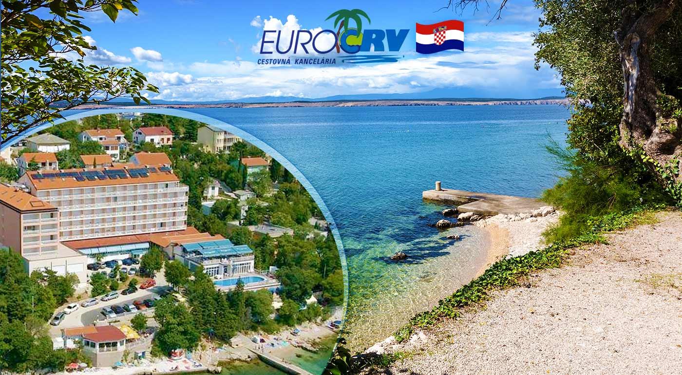 Letná dovolenka v chorvátskej Crikvenici v Hoteli Mediteran *** s polpenziou a klimatizovanými izbami s výhľadom na more na 8 dní