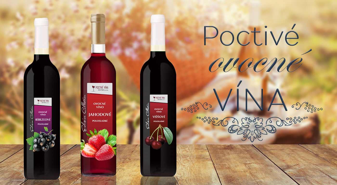 Balenie 6 fliaš poctivého jahodového, višňového a vína z čiernych ríbezlí zo Slovenska