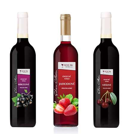 Balenie 6 x 0,75l ovocného vína (2x jahodové víno, 2x ríbezľové víno z čiernych ríbezlí, 2x višňové víno)