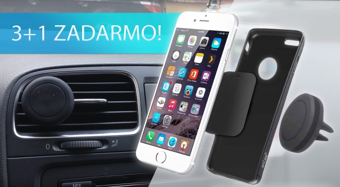 Fotka zľavy: Sústreďte sa pri šoférovaní na volant a cestu pred sebou! Váš mobil vám spoľahlivo podrží praktický magnetický držiak na všetky typy telefónov.