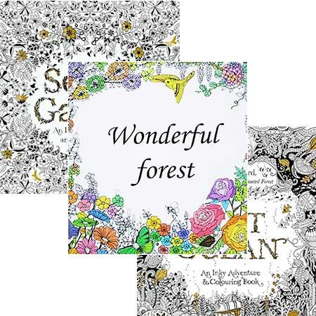 3-balenie antistresových omaľovániek Secret Garden, Lost Ocean a Wonderful Forest (24 strán)