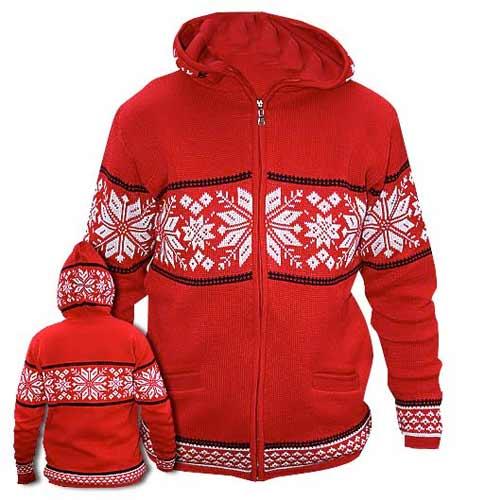 Červený sveter s kapucňou - veľkosť XS