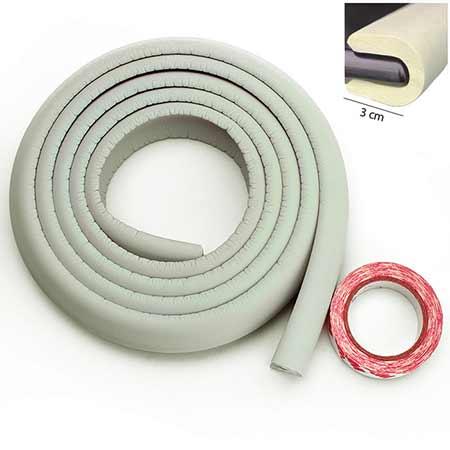 Penová ochrana rohov a hrán nábytku 2m x 3cm - farba slonovinová