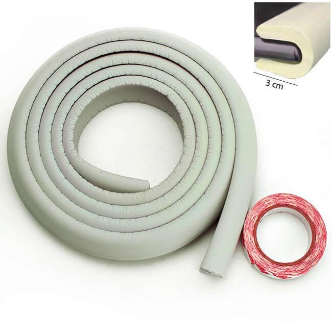 Penová ochrana rohov a hrán nábytku 2m x 3cm (tvar U) - farba biela