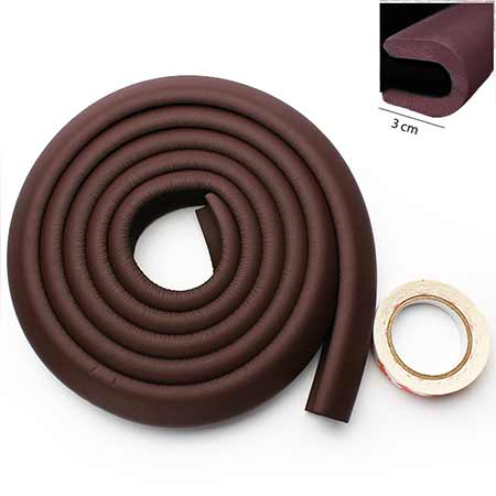 Penová ochrana rohov a hrán nábytku 2m x 3cm (tvar U) - farba tmavohnedá