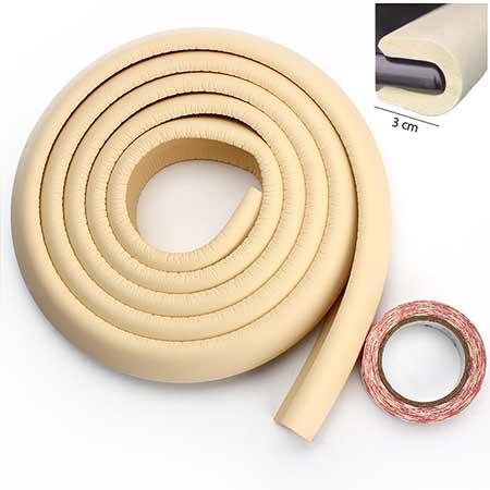 Penová ochrana rohov a hrán nábytku 2m x 3cm (tvar U) - farba krémová