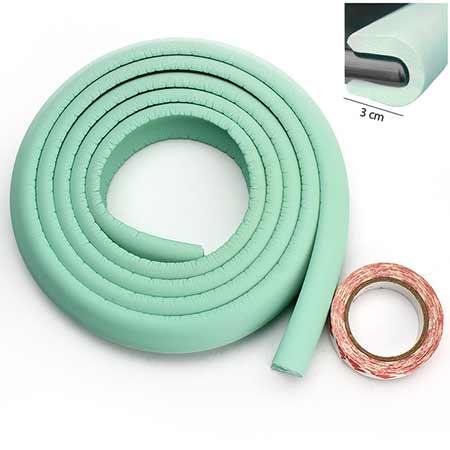 Penová ochrana rohov a hrán nábytku 2m x 3cm (tvar U) - farba tyrkysová