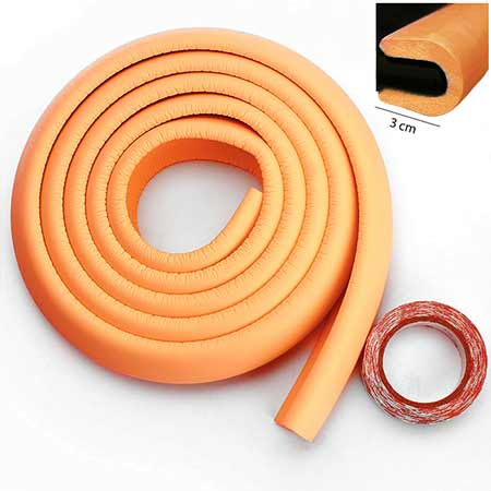 Penová ochrana rohov a hrán nábytku 2m x 3cm (tvar U) - farba oranžová