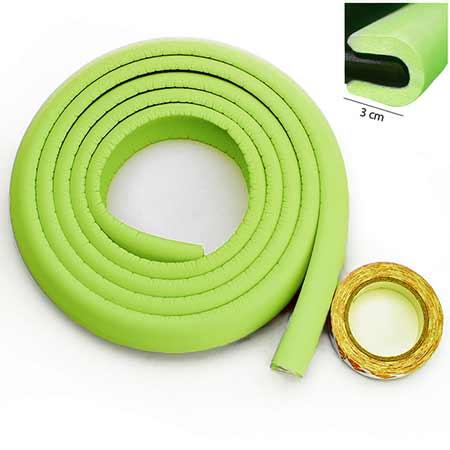 Penová ochrana rohov a hrán nábytku 2m x 3cm (tvar U) - farba zelená