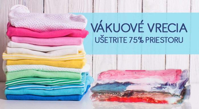 Vákuové vrecia v rôznych veľkostiach - balenie 2, 4 alebo až 6 ks za bezkonkurenčné ceny. Ušetrite až 75% miesta vo vašej skrini pri skladovaní nadbytočných vecí.
