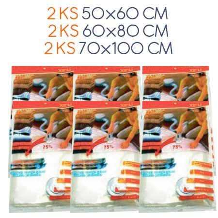 Balenie 6 ks vákuových vriec: 2 ks: 50 x 60 cm, 2 ks: 80 x 60 cm, 2ks: 100 x 70 cm