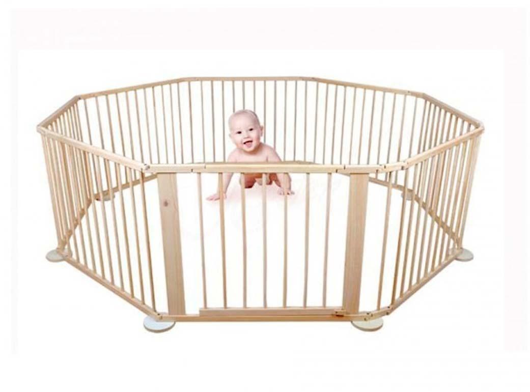 8-dielna detská drevená ohrádka