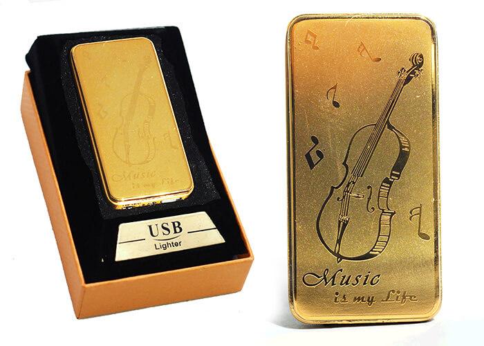 Zapaľovač s USB nabíjaním - Music is my life zlatý