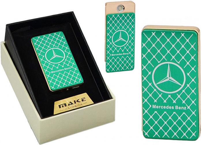 Zapaľovač s USB nabíjaním - zelený Mercedes