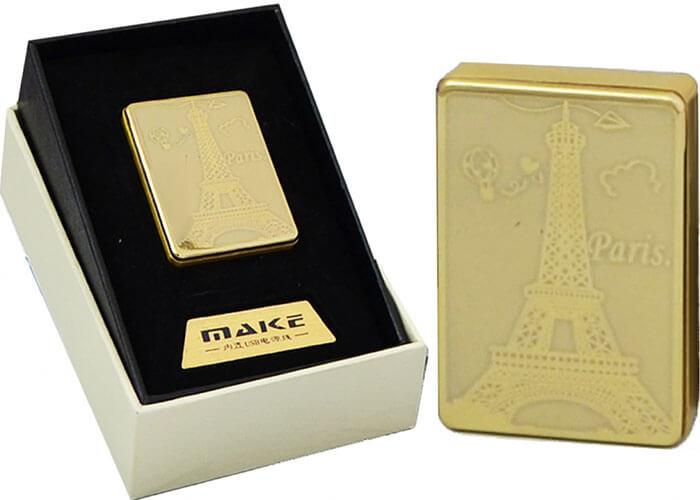 Zapaľovač s USB nabíjaním - zlatý Paríž