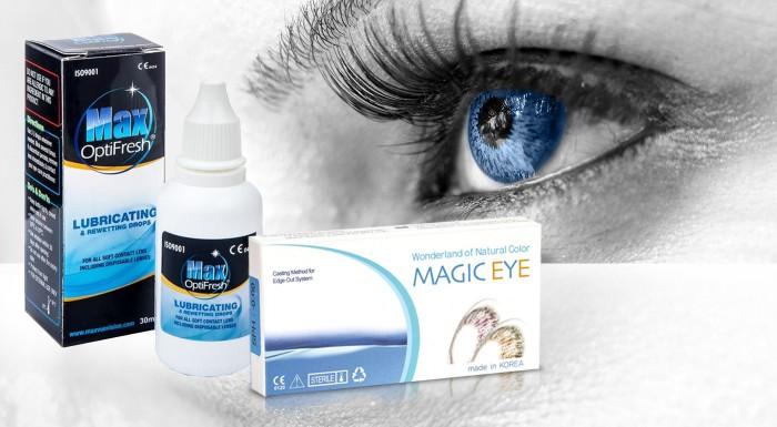 Fotka zľavy: Farebné šošovky Magic Eye a očné kvapky OptiFresh. Odvážte sa na radikálnu zmenu s dioptrickými alebo nediopotrickými druhmi od e-shopu Vaše Šošovky.