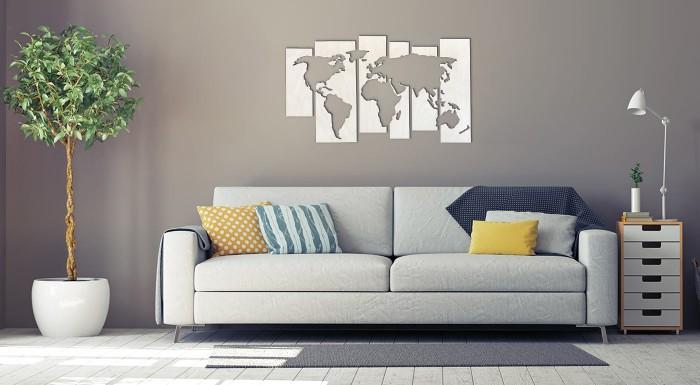 Fotka zľavy: Majte na očiach celý svet. Vyberte si z ponuky brezových vyrezávaných máp na stenu, ktoré okrášlia každý interiér.