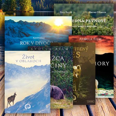 Kolekcia: 4x DVD (Strážca divočiny, Nesmrteľný les, Vlčie hory, Život v oblakoch) + 2x KNIHY (Rok v divočine, Posledná pevnosť)