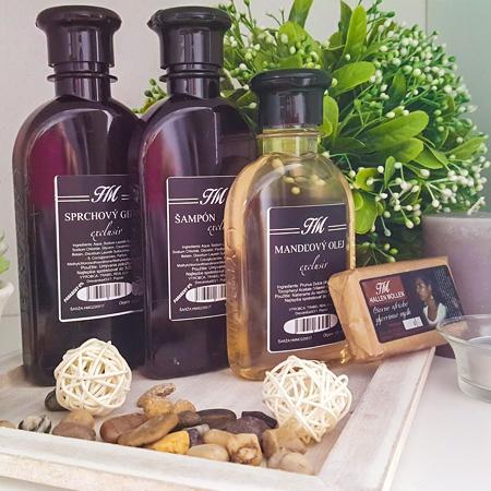 Balíček kozmetiky Hallen Mollen - variant A (HM sprchovací gél exclusiv 200 ml + HM šampón exclusiv 200 ml + HM mandľový olej 150 ml + HM glycerínové africké mydlo exclusiv)