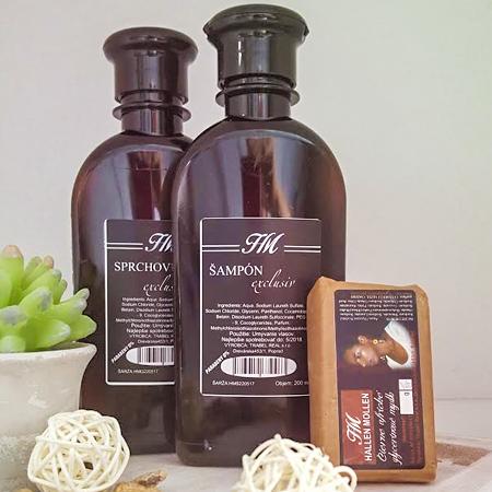 Balíček kozmetiky Hallen Mollen - variant B (HM sprchovací gél exclusiv 200 ml + HM šampón exclusiv 200 ml + HM glycerínové africké mydlo exclusiv)