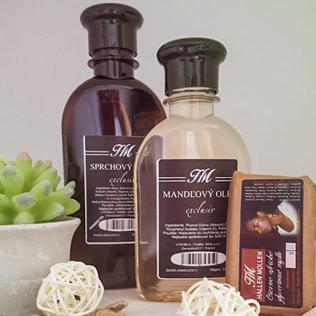 Balíček kozmetiky Hallen Mollen - variant C (HM sprchovací gél exclusiv 200 ml + HM mandľový olej exclusiv 150 ml + HM glycerínové africké mydlo exclusiv)