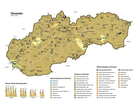 Stieracia mapa Slovenska - zlatá