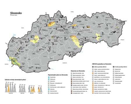 Stieracia mapa Slovenska - strieborná