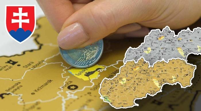 Fotka zľavy: Zaznačte si navštívené miesta Slovenska na stieracej mape, ktoré obsahuje hrady, zámky, jaskyne, národné parky a ďalšie zaujímavé miesta. Skvelý tip na darček nielen pre cestovateľov!